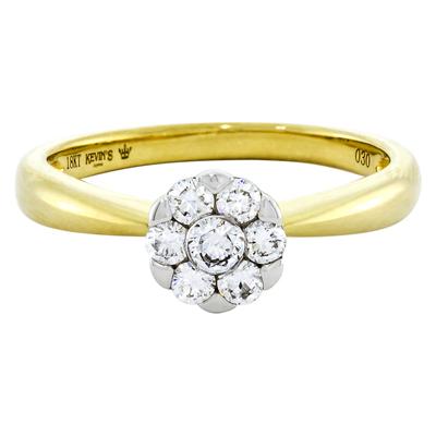 011173M026 - Anillo compromiso en oro amarillo de 18 Kilates, con 7 diamantes centrales de 0.30 Ct, de la coleccion Flores para ti