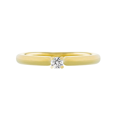 Anillo en oro amarillo de 18 Kilates con diamante central de 0.10Ct