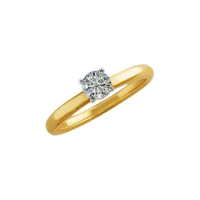 Anillo en oro amarillo de 18 Kilates, diamante 0.50Ct