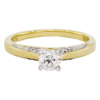 01117AE034 - Anillo compromiso en oro amarillo de 18 Kilates, con diamante central de 0.30 Ct y decoración en diamantes de 0.08 Ct