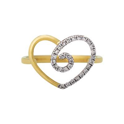 Anillo corazón en oro amarillo de 18 Kilates con 28 diamantes de 0.15Ct peso total