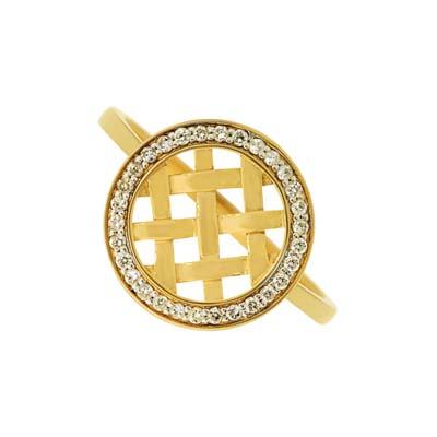 Anillo en oro amarillo de 18 Kilates con 30 diamantes de 0.16Ct peso total
