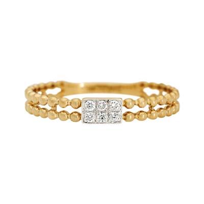 Anillo en oro amarillo de 18 Kilates con 6 diamantes de 0.05Ct peso total