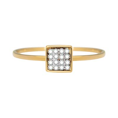 Anillo en oro amarillo de 18 Kilates con 16 diamantes de 0.07Ct peso total