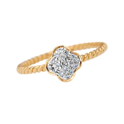 Anillo diseño margarita en oro amarillo de 18 Kilates con 17 diamantes de 0.07Ct peso total