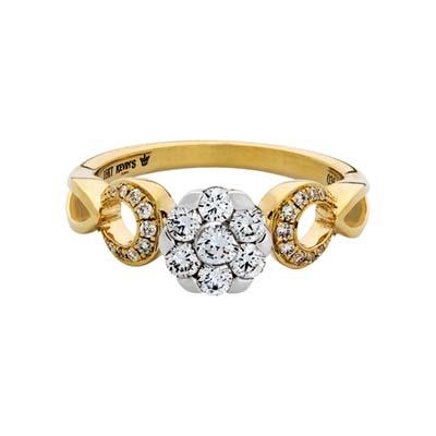 Anillo en oro amarillo de 18 Kilates, con 25 diamantes en decoracion de 0.35 Quilates, de la coleccion: Flores para ti