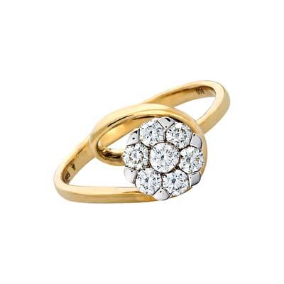 Anillo en oro amarillo de 18 Kilates rodinado con diamante central de 0.35Ct, de la colección flores para ti