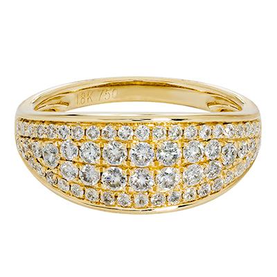 Anillo pave en oro amarillo de 18 Kilates con 62 diamantes de 0.71Ct peso total