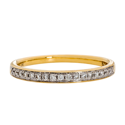 Anillo en oro amarillo de 18 Kilates, 17 diamantes de 0.11Ct peso total