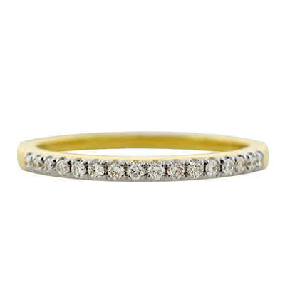 Anillo en oro amarillo de 18 Kilates con 16 diamantes de 0.17Ct peso total