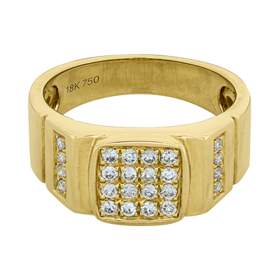 Anillo en oro amarillo de 18 Kilates, con diamante en decoracion de 0.52 Quilates