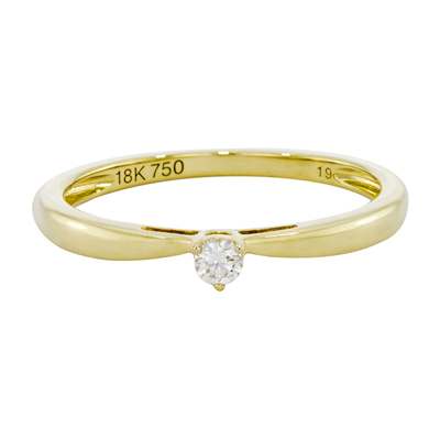 Anillo en oro amarillo de 18 Kilates con diamante central de 0.05Ct
