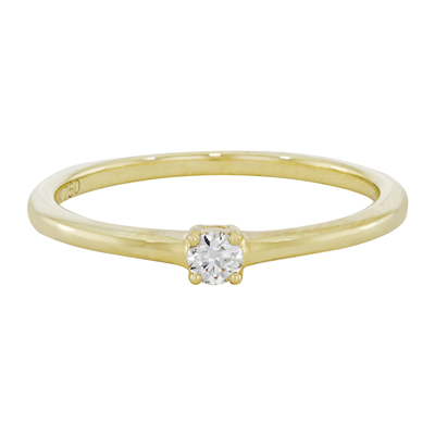 Anillo en oro amarillo de 18 Kilates con diamante central de 0.12Ct
