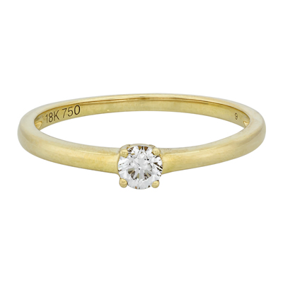 Anillo en oro amarillo de 18 Kilates con diamante central de 0.18Ct