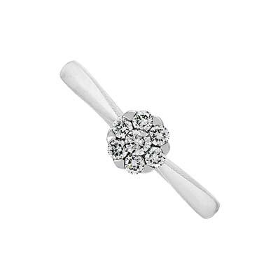 Anillo en oro blanco de 18 Kilates con diamante central de 0.30Ct, 2 milímetros de ancho, de la colección flores para ti