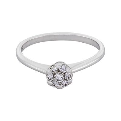 Anillo en oro blanco de 18 Kilates con diamante central de 0.20Ct, 2 milímetros de ancho, de la colección flores para ti