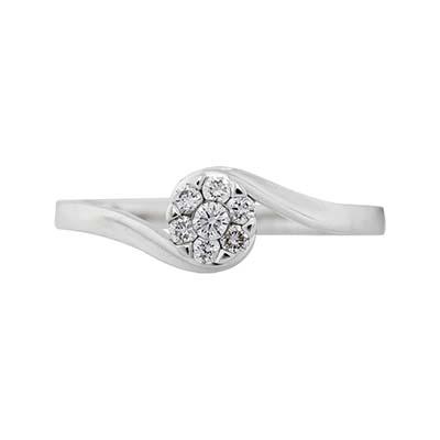 Anillo en oro blanco de 18 Kilates rodinado con diamante central de 0.15Ct, de la colección flores para ti
