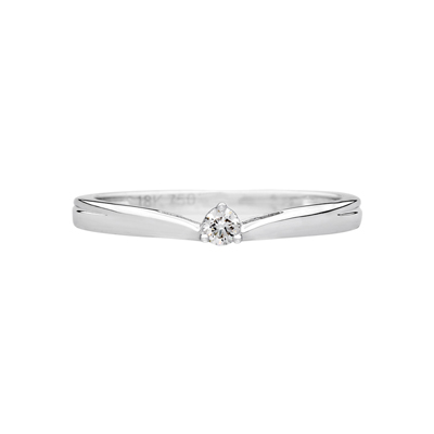Anillo en oro blanco de 18 Kilates rodinado con diamante central de 0.05Ct