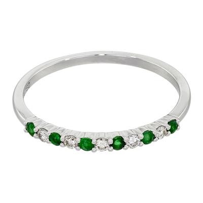 0122705016 - Anillo en oro blanco de 18 Kilates, con diamantes de 0.09 Ct y esmeraldas de 0.12 Ct