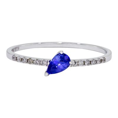 0125400010 - Anillo en oro blanco de 18 Kilates, con zafiro central de 0.25 Ct y decoración en diamantes de 0.07 Ct