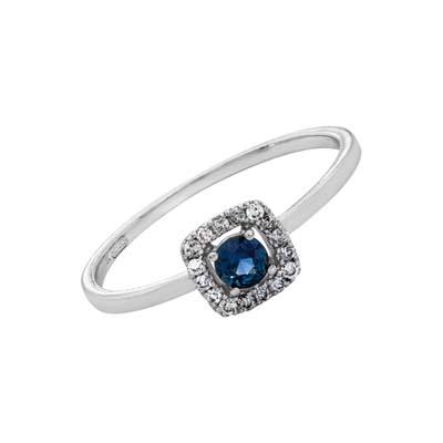 0125702012 - Anillo en oro blanco de 18 Kilates, con zafiro central de 0.15 Ct y decoración en diamantes de 0.07 Ct