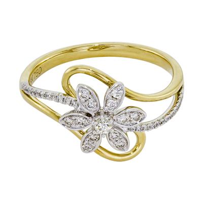0141709030 - Anillo en 2 oros de 18 Kilates, con diamantes de 0.25 Ct, 70 mm. de ancho