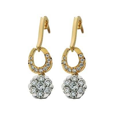 Aretes en oro amarillo de 18 Kilates con 32 diamantes de 0.45Ct peso total de la colección flores para tí