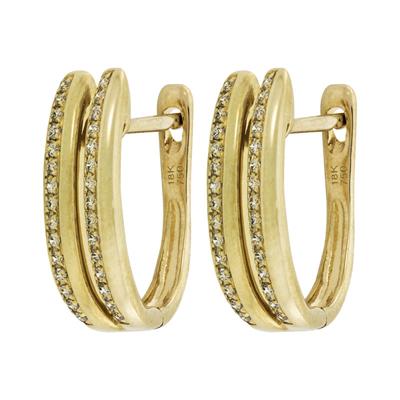 Aretes en oro amarillo de 18 Kilates franjas con diamantes en decoracion de 0.16Ct peso total