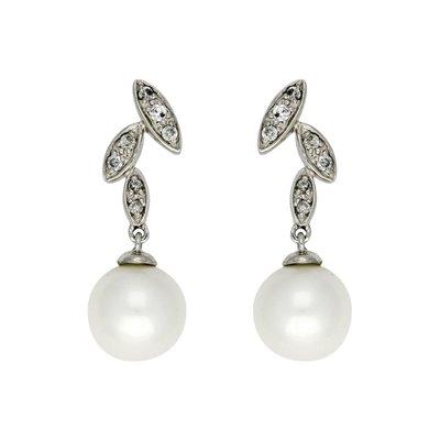 Aretes en oro blanco de 18 Kilates rodinado hoja con perla, 7 milímetros de ancho, con broche tipo mariposa