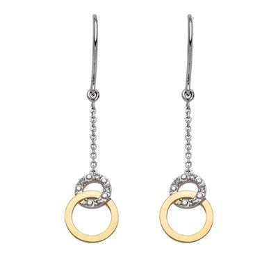 Aretes en 2 oros de 18 Kilates rodinado circulo con diamantes en decoracion de 0.02Ct peso total