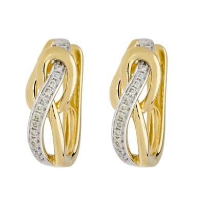 Aretes en 2 oros de 18 Kilates rodinado onda con diamantes en decoracion de 0.13Ct peso total, con broche tipo clip