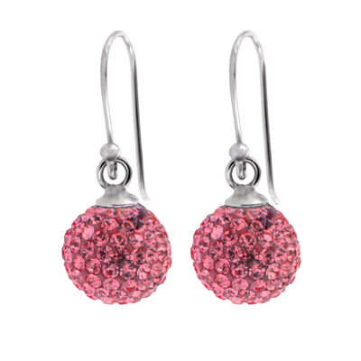 Aretes en plata Ley 925, cristales rosados, 10 milímetros de ancho, con broche tipo gancho, de la colección venezia