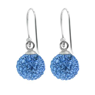 Aretes en plata Ley 925, cristales azules, 10 milímetros de ancho, con broche tipo gancho, de la colección venezia