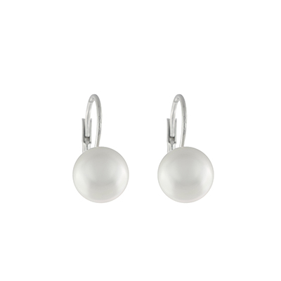 Aretes en plata Ley 925 perla sintetica, 10 milímetros de ancho, con broche tipo gancho, de la colección sueños