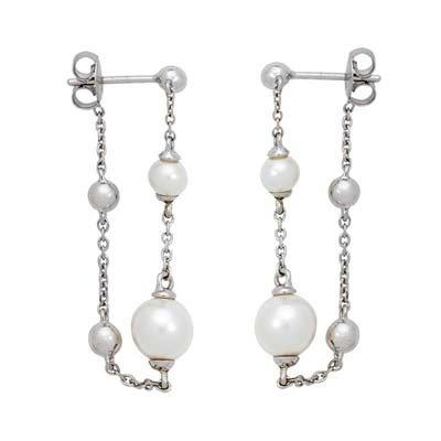 Aretes en plata Ley 925 rodinado tiras con perla, de la colección sueños