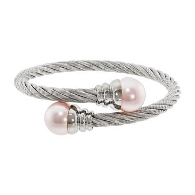 Aro en acero, Entorchada, con perla en decoracion, 5 milimetros de ancho, de la coleccion: Forza