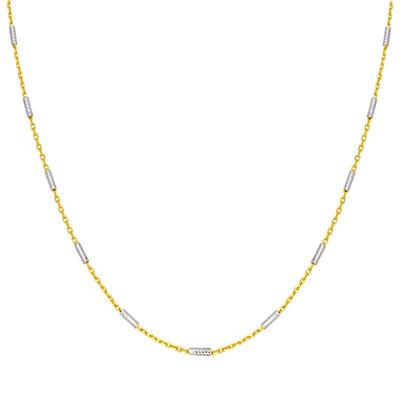 Cadena en oro amarillo de 18 Kilates rodinado visos, tejido rolo, 45 centímetros de largo, 1 milímetros de ancho