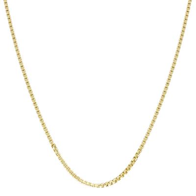 Cadena en oro amarillo de 18 Kilates visos, tejido veneciana, 50 centímetros de largo, 1.5 milímetros de ancho
