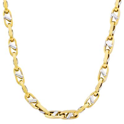 Cadena en oro amarillo de 18 Kilates rodinado, tejido ojo de perniz, 50 centímetros de largo, 5.5 milímetros de ancho