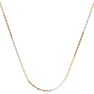 Cadena en oro amarillo de 18 Kilates rodinado, tejido ovalos entrelazado, 45 centímetros de largo, 1.5 milímetros de ancho