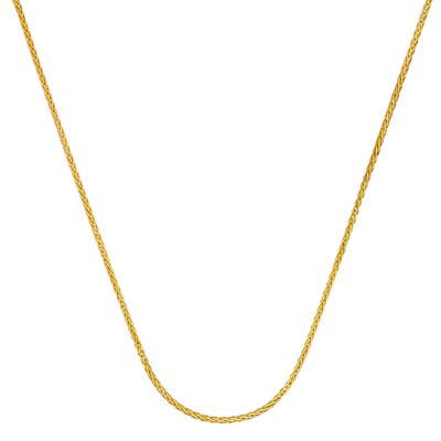 Cadena en oro amarillo de 18 Kilates visos, tejido espiga, 45 centímetros de largo, 1.5 milímetros de ancho