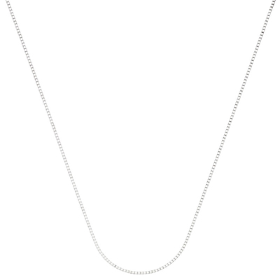 Cadena en oro blanco de 18 Kilates rodinado, tejido veneciana, 45 centímetros de largo, 0.8 milímetros de ancho