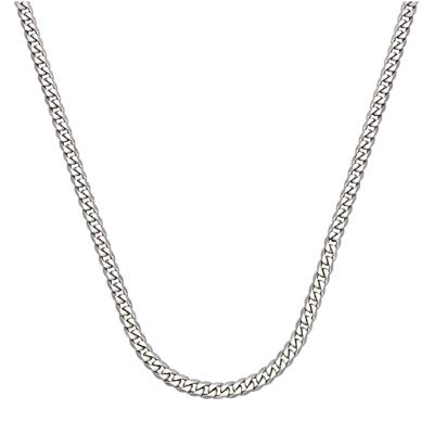 Cadena en oro blanco de 18 Kilates rodinado, tejido grumette, 40 centímetros de largo, 1 milímetros de ancho