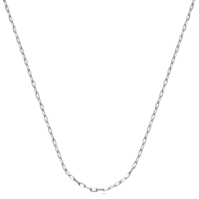 Cadena en oro blanco de 18 Kilates rodinado, tejido ovalos entrelazado, 45 centímetros de largo, 1 milímetros de ancho