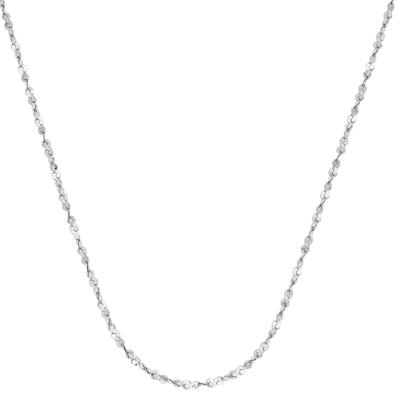 Cadena en oro blanco de 18 Kilates rodinado visos, tejido serpentina, 45 centímetros de largo, 0.7 milímetros de ancho