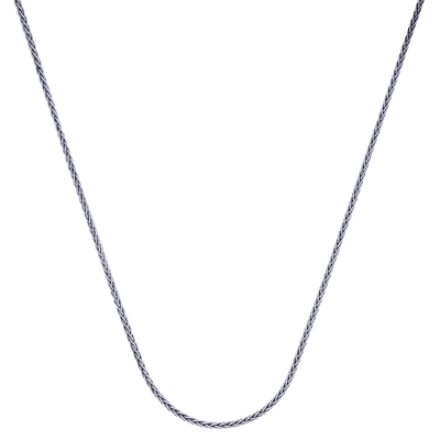 Cadena en plata Ley 925, Espiga, 40 centimetros de largo, 1 milimetros de ancho