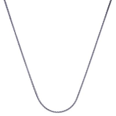 Cadena en plata Ley 925 rodinado, tejido espiga, 50 centímetros de largo, 1 milímetros de ancho