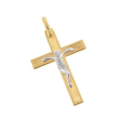 Cruz en oro amarillo de 18 Kilates, cristo rodinado, 31 milímetros de largo, 21 milímetros de ancho