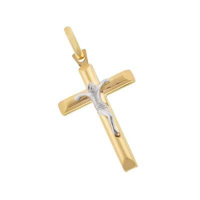 Cruz en oro amarillo de 18 Kilates, cristo rodinado, 28 milímetros de largo, 16.5 milímetros de ancho