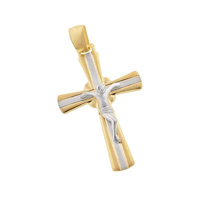 Cruz en oro amarillo de 18 Kilates,  cristo rodinado, 27 milímetros de largo, 17 milímetros de ancho.